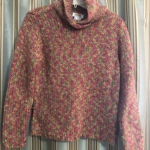 Talbots wool blend cowl sweater colorful